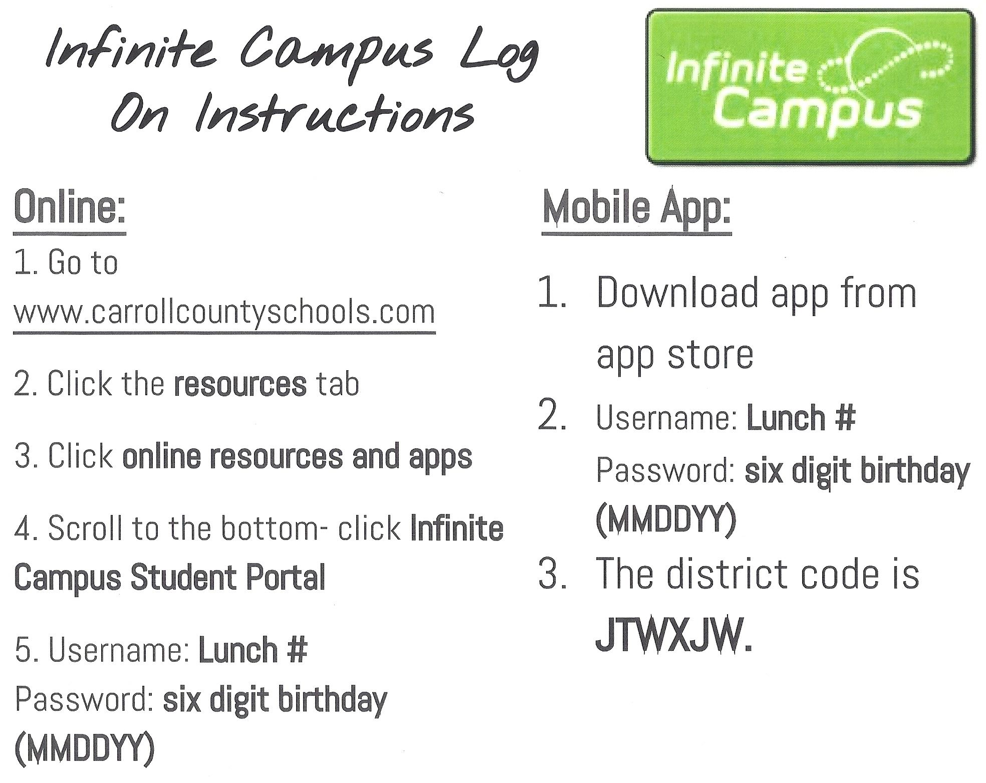 Quick Reference Sheet for Infinite Campus