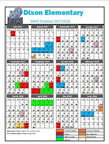 WAVE Schedule 2017/2018