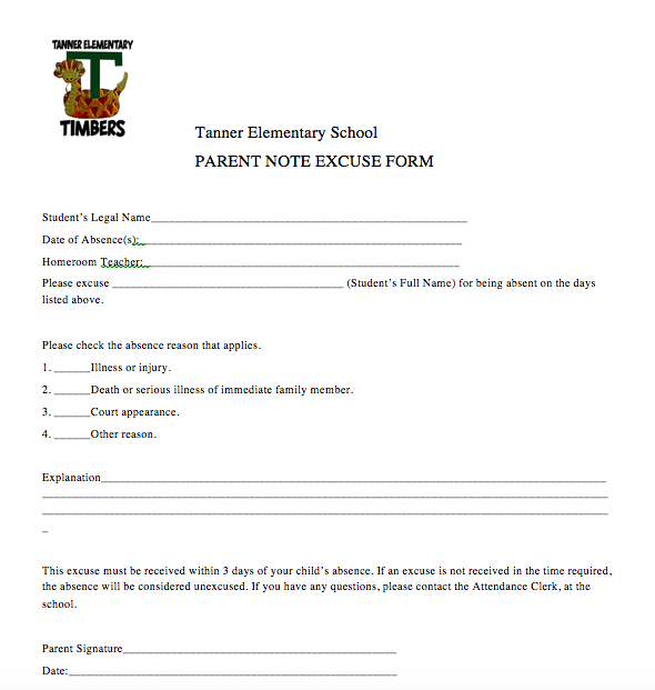 Student Absence Excuse Form