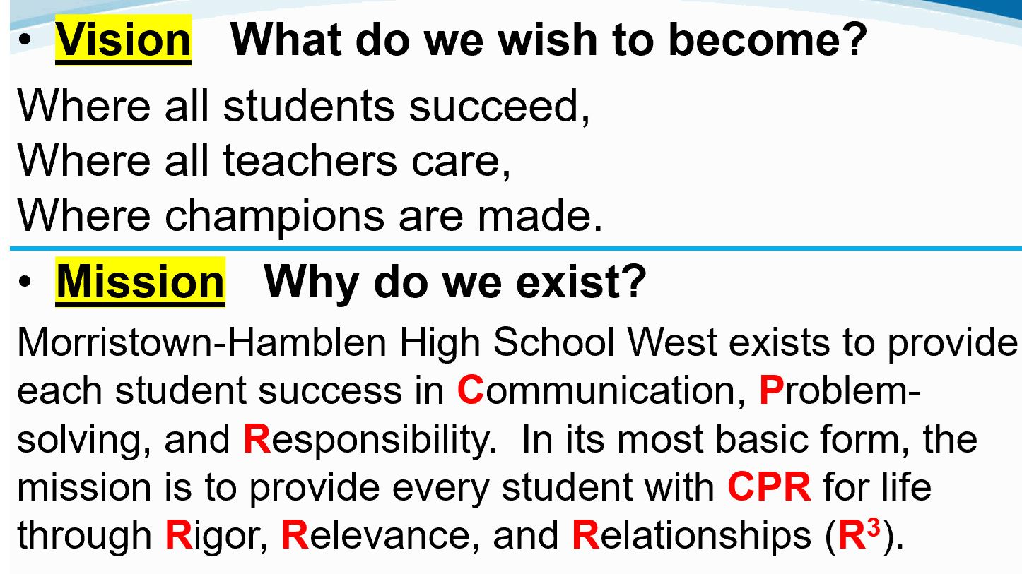 Mission and Vision of Morristown-Hamblen High School West