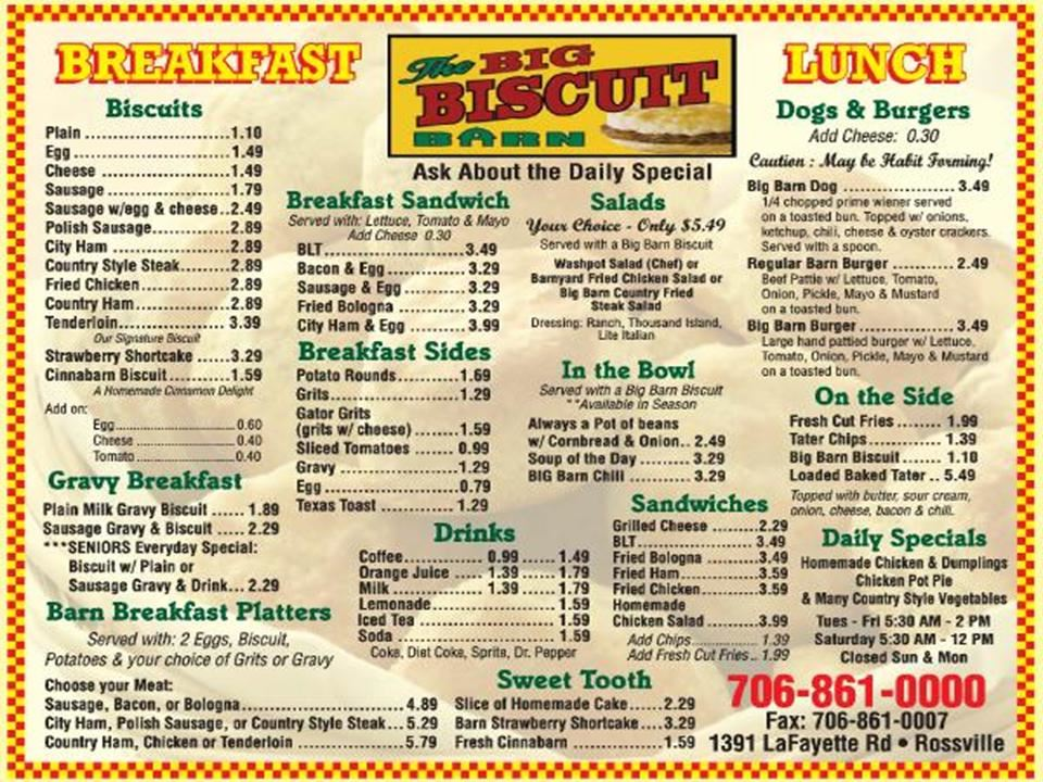Menu from The Big Biscuit Barn